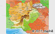 Physical 3D Map of Pakistan, political shades outside, shaded relief sea