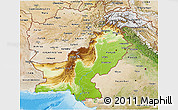 Physical 3D Map of Pakistan, satellite outside, shaded relief sea
