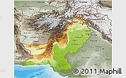 Physical 3D Map of Pakistan, semi-desaturated, land only