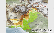 Physical 3D Map of Pakistan, semi-desaturated