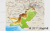 Physical 3D Map of Pakistan, shaded relief outside