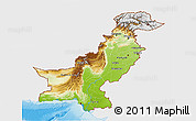 Physical 3D Map of Pakistan, single color outside