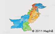 Political 3D Map of Pakistan, cropped outside