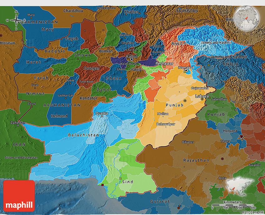 Political D Map Of Pakistan Darken - Pakistan map