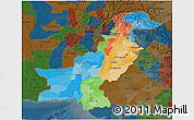 Political 3D Map of Pakistan, darken