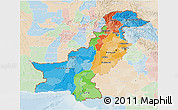 Political 3D Map of Pakistan, lighten