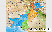Political 3D Map of Pakistan, satellite outside, bathymetry sea