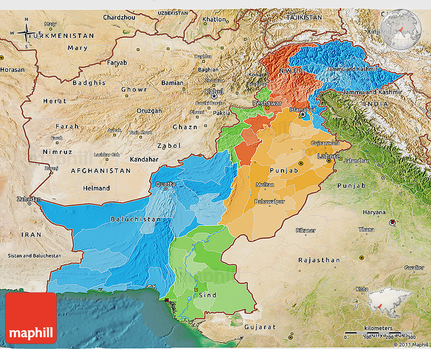Political D Map Of Pakistan Satellite Outside - Map pakistan