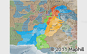 Political 3D Map of Pakistan, semi-desaturated