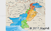 Political 3D Map of Pakistan, shaded relief outside, bathymetry sea
