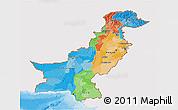 Political 3D Map of Pakistan, single color outside