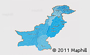 Political Shades 3D Map of Pakistan, cropped outside