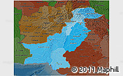 Political Shades 3D Map of Pakistan, darken