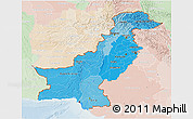 Political Shades 3D Map of Pakistan, lighten