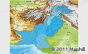 Political Shades 3D Map of Pakistan, physical outside