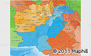 Political Shades 3D Map of Pakistan