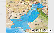 Political Shades 3D Map of Pakistan, satellite outside, bathymetry sea