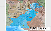 Political Shades 3D Map of Pakistan, semi-desaturated, land only