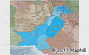 Political Shades 3D Map of Pakistan, semi-desaturated