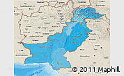 Political Shades 3D Map of Pakistan, shaded relief outside, bathymetry sea