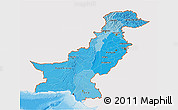 Political Shades 3D Map of Pakistan, single color outside