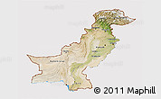 Satellite 3D Map of Pakistan, cropped outside