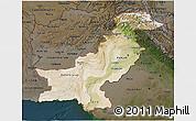 Satellite 3D Map of Pakistan, darken