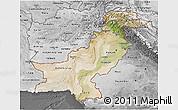 Satellite 3D Map of Pakistan, desaturated