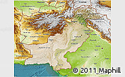 Satellite 3D Map of Pakistan, physical outside, satellite sea