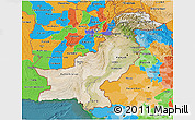 Satellite 3D Map of Pakistan, political outside, satellite sea
