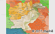 Satellite 3D Map of Pakistan, political shades outside, satellite sea