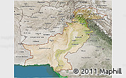 Satellite 3D Map of Pakistan, semi-desaturated, land only