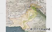 Satellite 3D Map of Pakistan, semi-desaturated