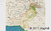 Satellite 3D Map of Pakistan, shaded relief outside, satellite sea