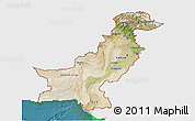 Satellite 3D Map of Pakistan, single color outside