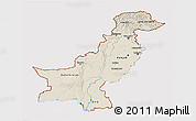 Shaded Relief 3D Map of Pakistan, cropped outside