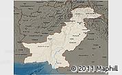 Shaded Relief 3D Map of Pakistan, darken