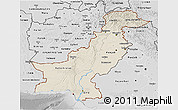 Shaded Relief 3D Map of Pakistan, desaturated