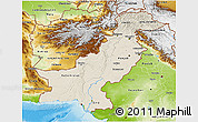 Shaded Relief 3D Map of Pakistan, physical outside