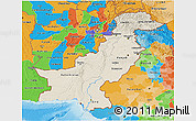 Shaded Relief 3D Map of Pakistan, political outside, shaded relief sea