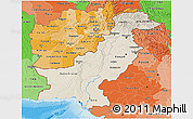 Shaded Relief 3D Map of Pakistan, political shades outside, shaded relief sea