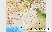 Shaded Relief 3D Map of Pakistan, satellite outside, shaded relief sea