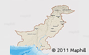 Shaded Relief 3D Map of Pakistan, single color outside
