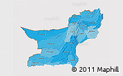 Political Shades 3D Map of Baluchistan, cropped outside