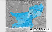 Political Shades 3D Map of Baluchistan, desaturated