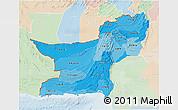 Political Shades 3D Map of Baluchistan, lighten