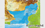 Political Shades 3D Map of Baluchistan, physical outside