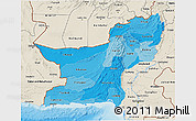 Political Shades 3D Map of Baluchistan, shaded relief outside