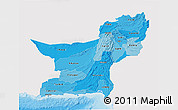 Political Shades 3D Map of Baluchistan, single color outside