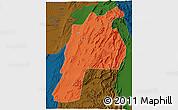 Political 3D Map of Kalat, darken